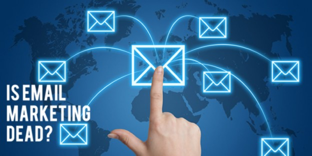 Illustration of a hand clicking on an envelope which signals an email, with text 'Is Email Marketing Dead?'