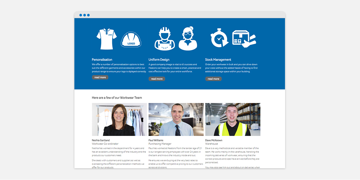 Screen grab of Heatons homepage for their Workwear brand