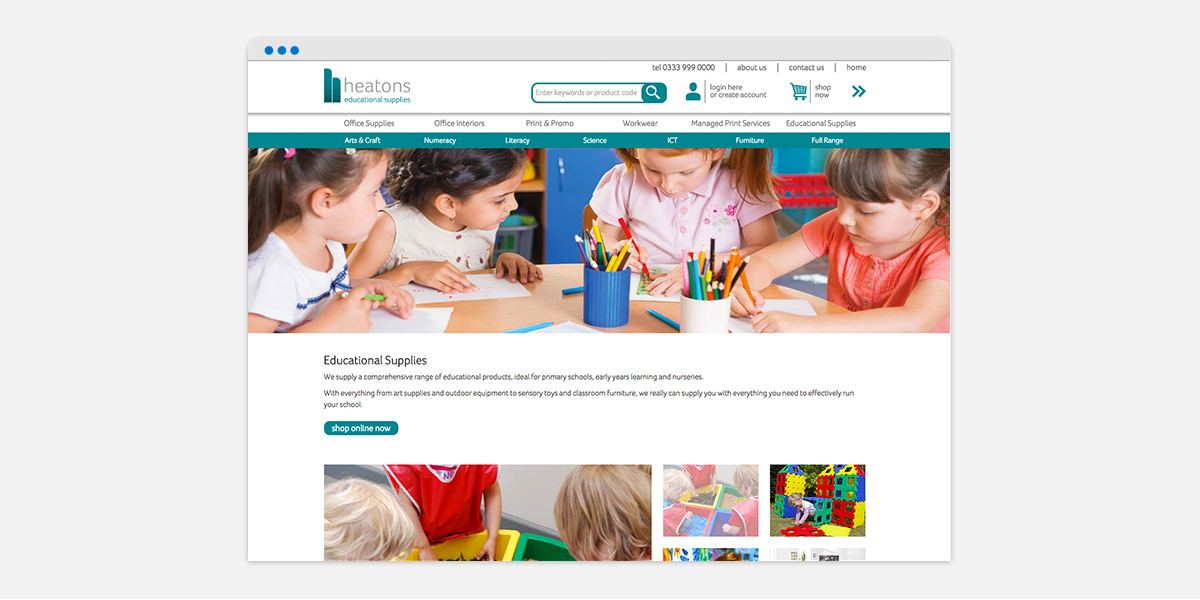 Screen grab of Heatons homepage for their Educational Supplies brand