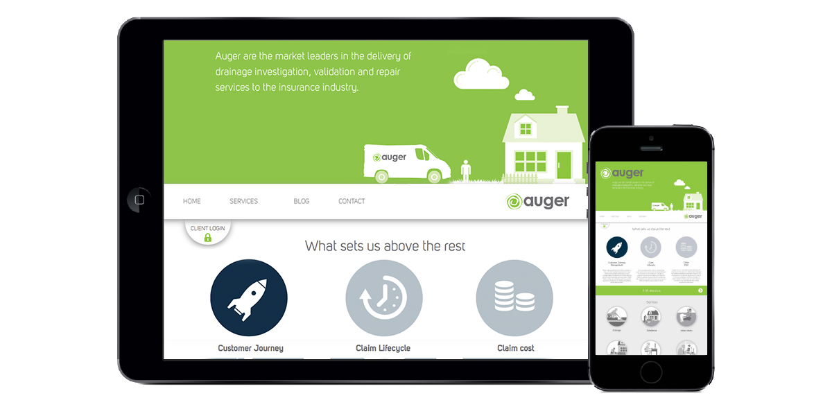 Image of Auger's website displayed on a tablet and an iPhone showing it's mobile responsive